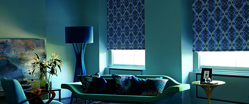 Image showing patterned blackout blinds in a living room