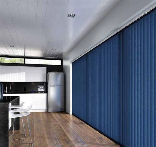 An image showing navy blue vertical windows blinds in an open plan living area