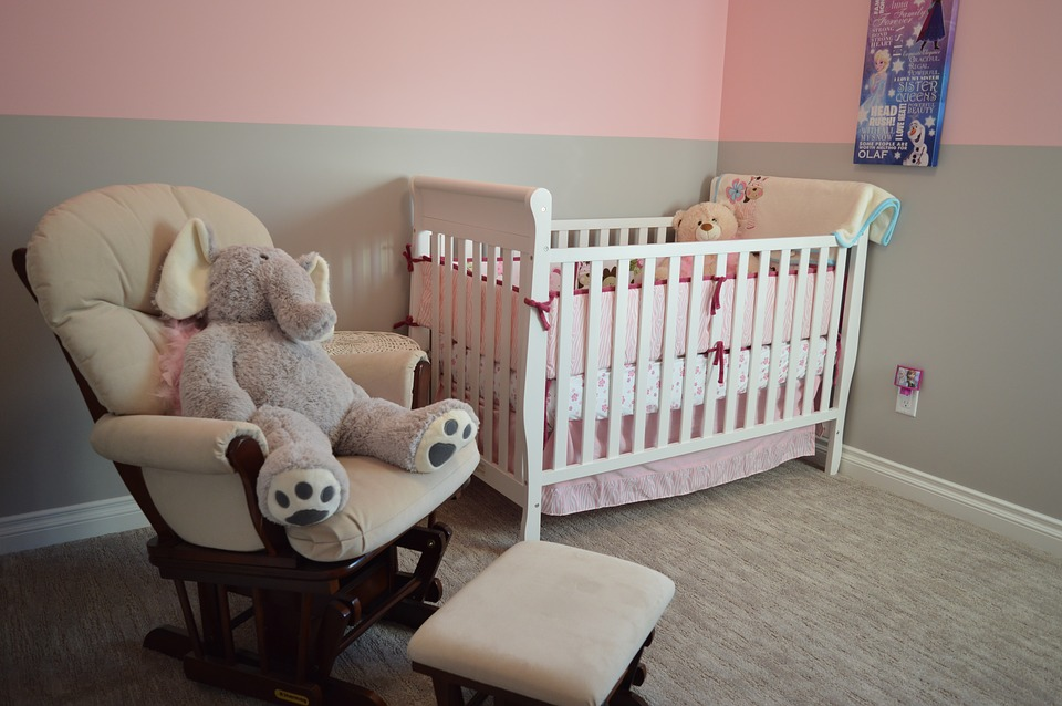 An image showing a baby's bedroom darkened by nursery blinds