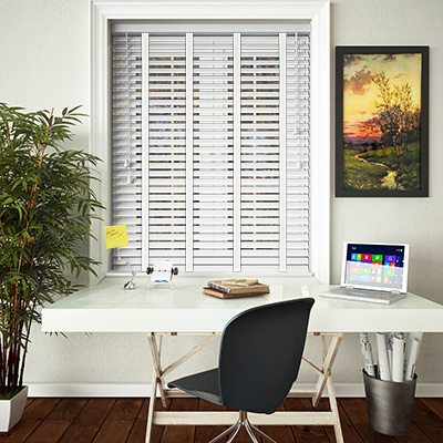 Buy High Gloss White Wooden Blinds With White Ladder Tape