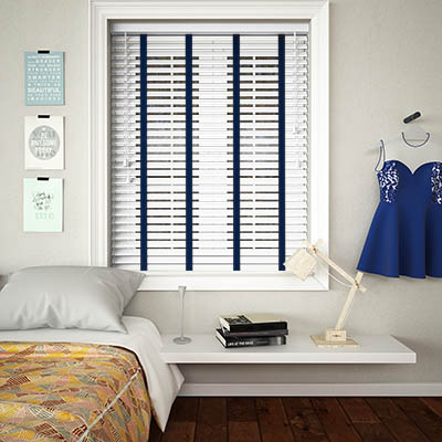 Buy Ice White Woodgrain Wooden Blinds With Icon Ladder Tape