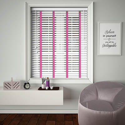 Buy Ice White Woodgrain Wooden Blinds With Lulu Ladder Tape